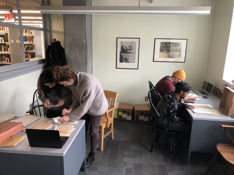Winter Session Students researching in the Bard Archives